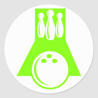 Chartreuse, Neon Green Bowling Round Sticker