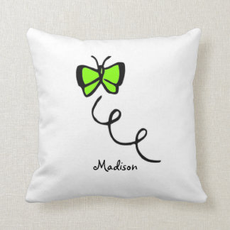 Chartreuse, Neon Green Butterfly Cushion