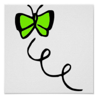 Chartreuse, Neon Green Butterfly Poster