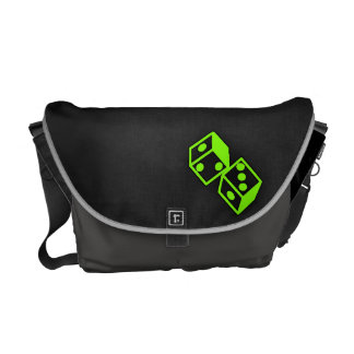 Chartreuse Neon Green Dice Messenger Bags