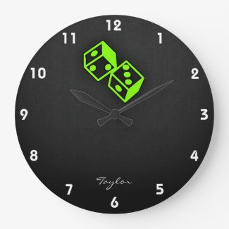 Chartreuse, Neon Green Dice Wall Clock