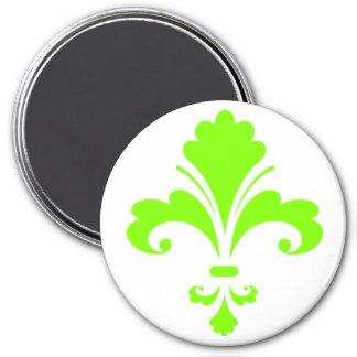 Chartreuse, Neon Green Fleur de lis 7.5 Cm Round Magnet