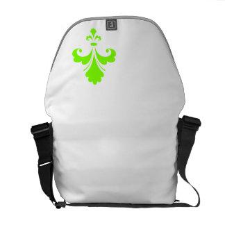 Chartreuse, Neon Green Fleur de lis Messenger Bag