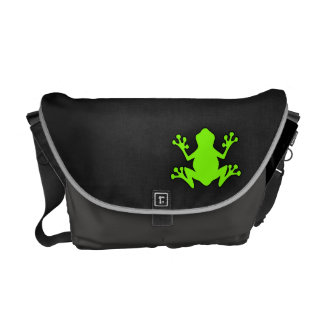 Chartreuse, Neon Green Frog Messenger Bags