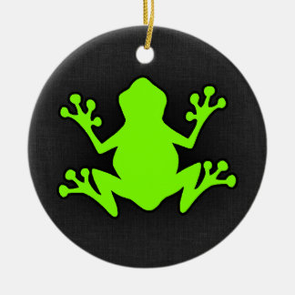 Chartreuse, Neon Green Frog Round Ceramic Decoration