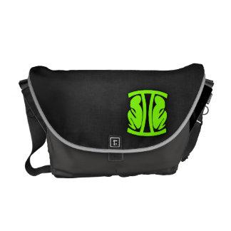 Chartreuse Neon Green Gemini Messenger Bags