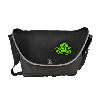 Chartreuse Neon Green Hibiscus Courier Bags
