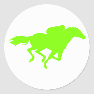 Chartreuse, Neon Green Horse Racing Round Sticker