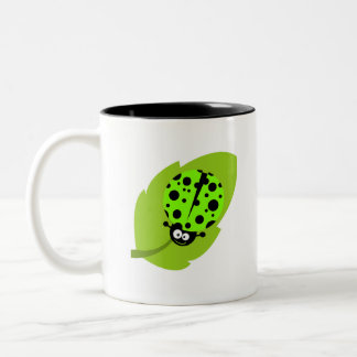 Chartreuse, Neon Green Ladybug Two-Tone Coffee Mug