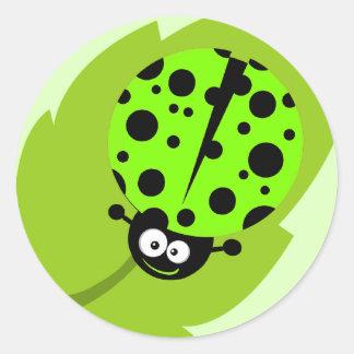 Chartreuse, Neon Green Ladybug Round Sticker