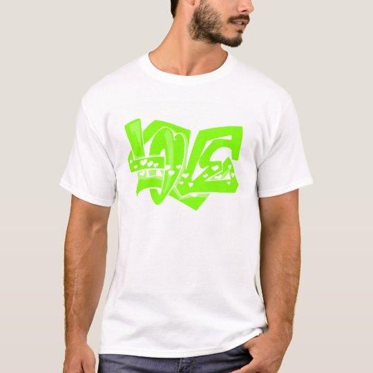 Chartreuse, Neon Green Love Graffiti T-Shirt