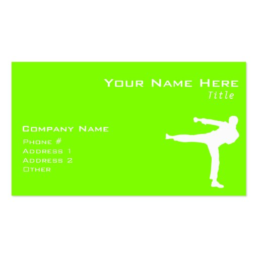 Chartreuse, Neon Green Martial Arts Business Cards