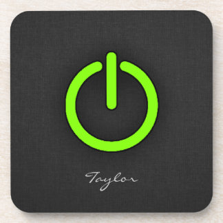 Chartreuse Neon Green Power Button Beverage Coaster