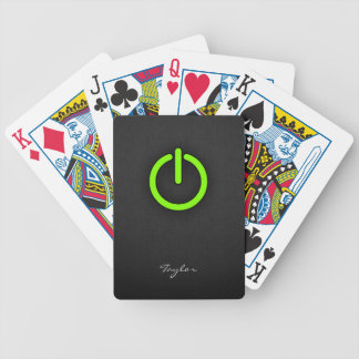 Chartreuse Neon Green Power Button Bicycle Card Deck