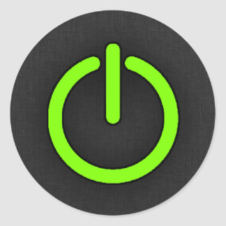 Chartreuse Neon Green Power Button Sticker