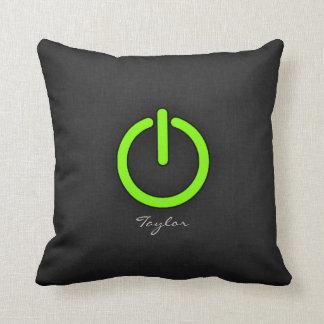 Chartreuse Neon Green Power Button Throw Pillows