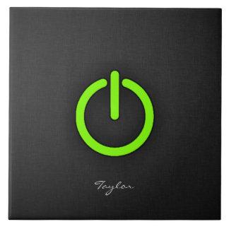 Chartreuse Neon Green Power Button Tiles