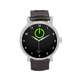 Chartreuse Neon Green Power Button Wristwatch