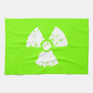 Chartreuse, Neon Green Radioactive Symbol Tea Towel