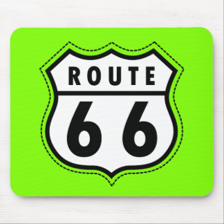 Chartreuse Neon Green Route 66 road sign Mouse Pads