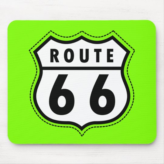 Chartreuse, Neon Green Route 66 road sign Mouse