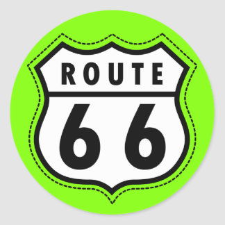 Chartreuse, Neon Green Route 66 road sign Stickers