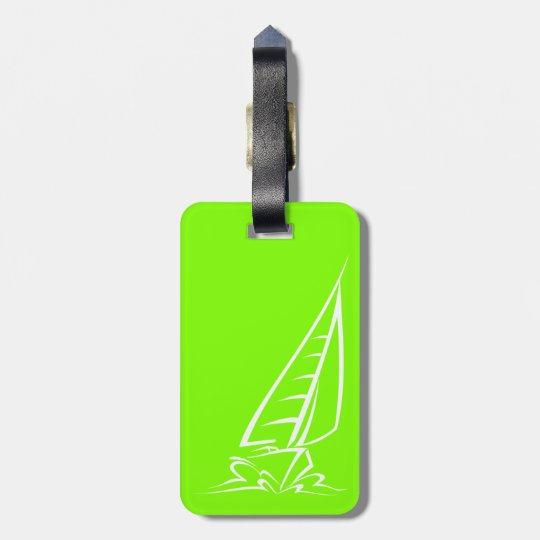 Chartreuse, Neon Green Sailing Luggage Tag