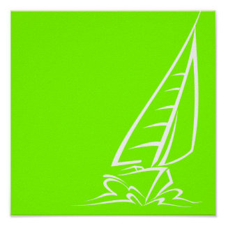 Chartreuse, Neon Green Sailing Poster