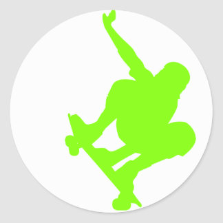 Chartreuse, Neon Green Skater Classic Round Sticker