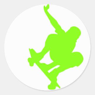 Chartreuse, Neon Green Skater Round Sticker