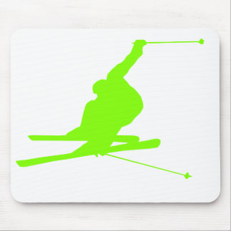 Chartreuse, Neon Green Snow Skiing Mouse Mat