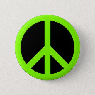 Chartreuse Peace Symbol 6 Cm Round Badge