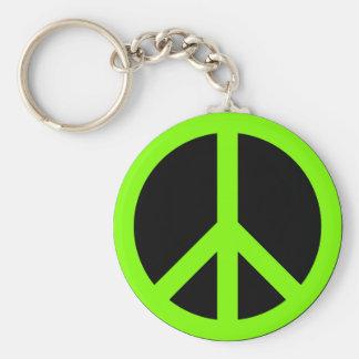 Chartreuse Peace Symbol Key Ring