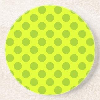Chartreuse Polka Dots Coasters