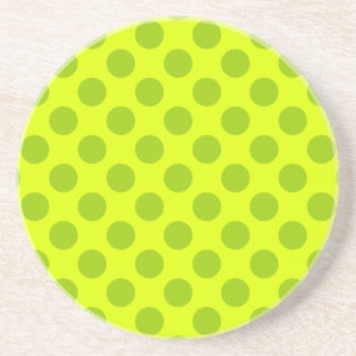 Chartreuse Polka Dots Sandstone Coaster