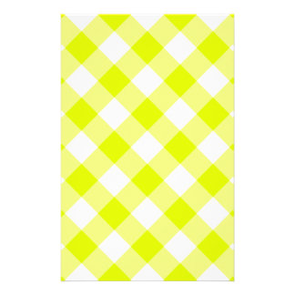 Chartreuse Yellow Gingham Stationery
