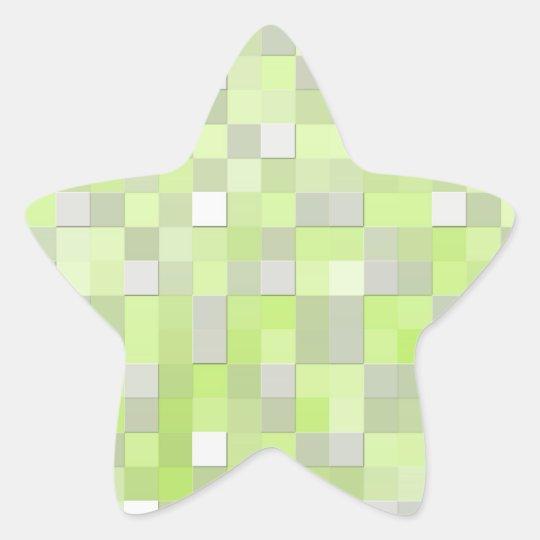 Chartreuse Yellow Mosaic Pattern Star Sticker
