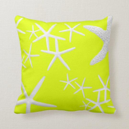 Chartreuse Yellow Starfish Decorative Throw Pillow