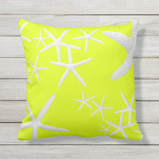 Chartreuse Yellow Starfish Decorative Throw Pillow