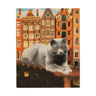 Chartreux Cat in Holland Wood Canvas