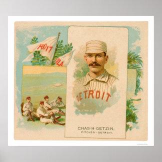 Chas Getzin Rare Baseball 1888 Poster
