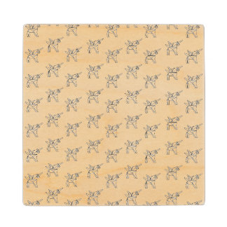 Chasin' Unicorns Geometric Crystal Unicorn Pattern Maple Wood Coaster