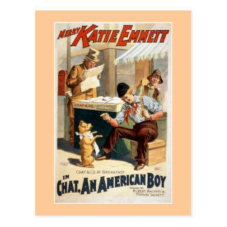 Chat, an American Boy Vintage Theater Poster. Postcard