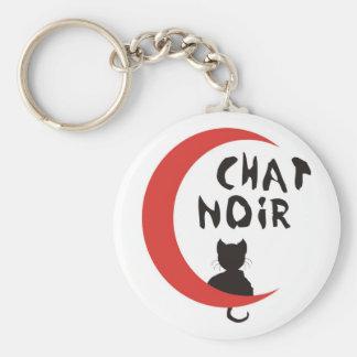 CHAT NOIR BASIC ROUND BUTTON KEY RING