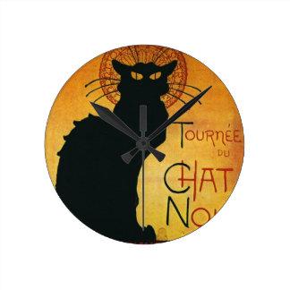 Chat Noir - Black Cat Round Clock