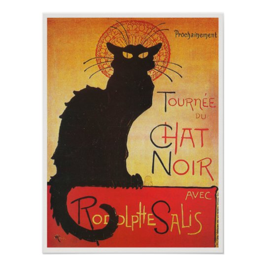 Chat Noir by Steinlen Vintage French cabaret cat