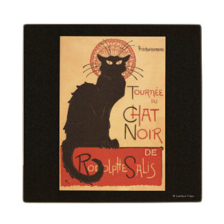 Chat Noir Cabaret Troupe Black Cat Promo Poster Wood Coaster