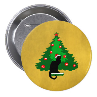 Chat Noir Christmas 7.5 Cm Round Badge