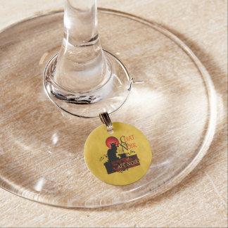 Chat Noir et Café Noir Wine Glass Charm
