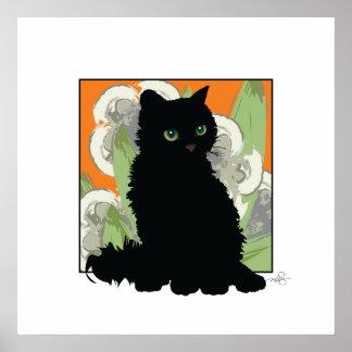 Chat Noir et Fleurs Blanches de Printemps Poster